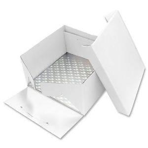 Podložka dortová stříbrná čtverec 30,5cm x 30,5cm + dortová krabice s víkem - PME