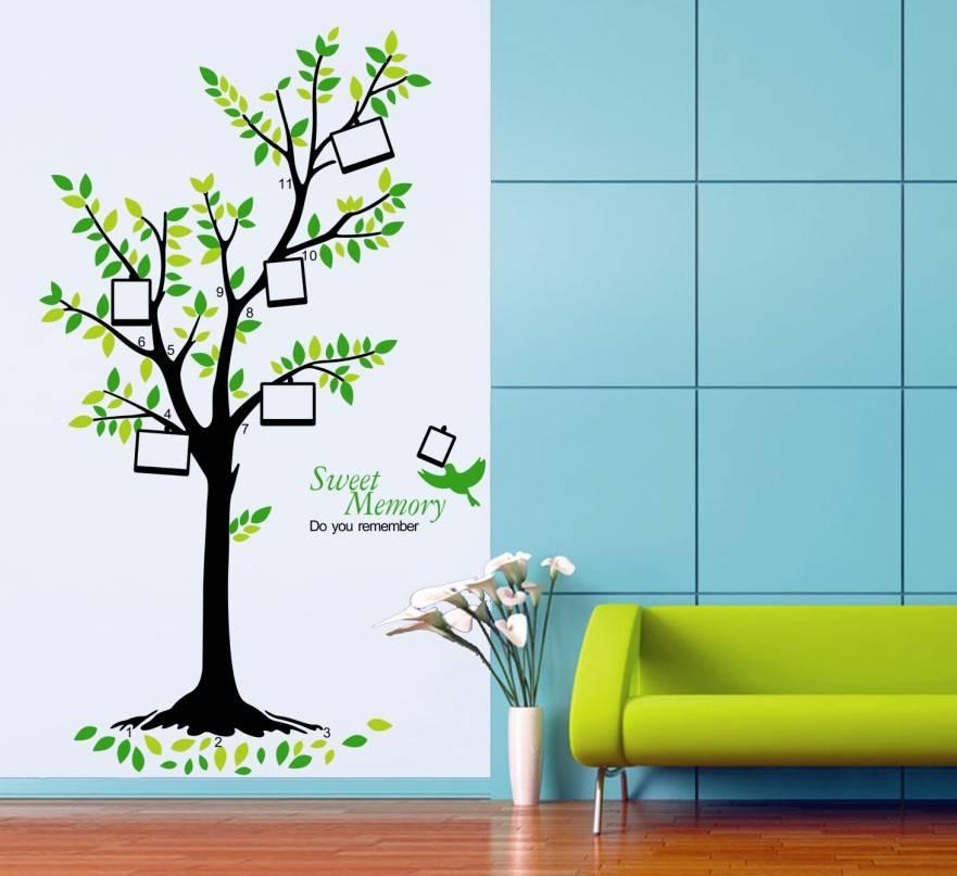 Samolepka na zeď strom s rámečky na fotky - nalepimeto