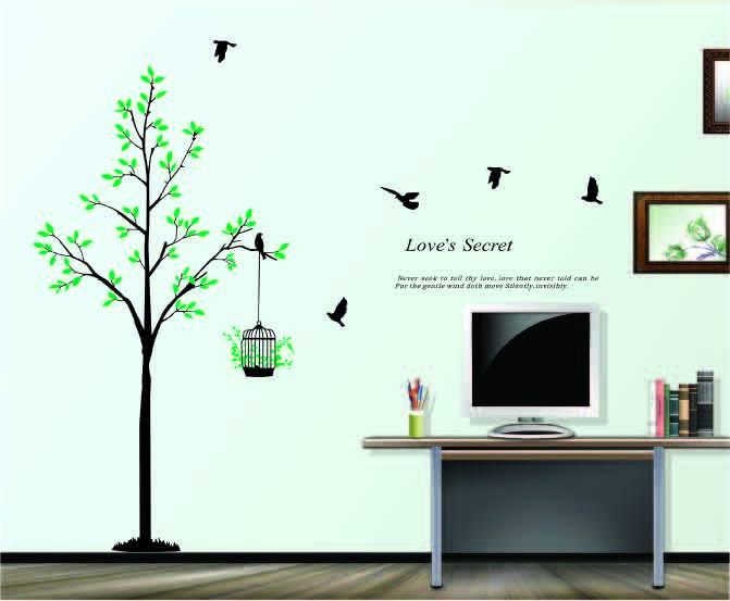 Samolepka na zeď ptáček na stromě - nalepimeto