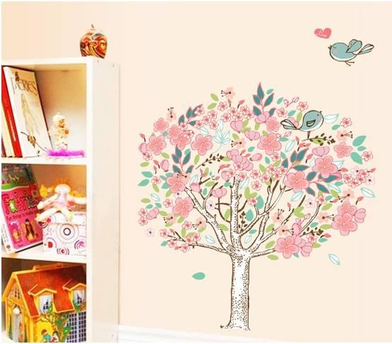 Samolepka na zeď Rozkvetlý strom s ptáčky - nalepimeto