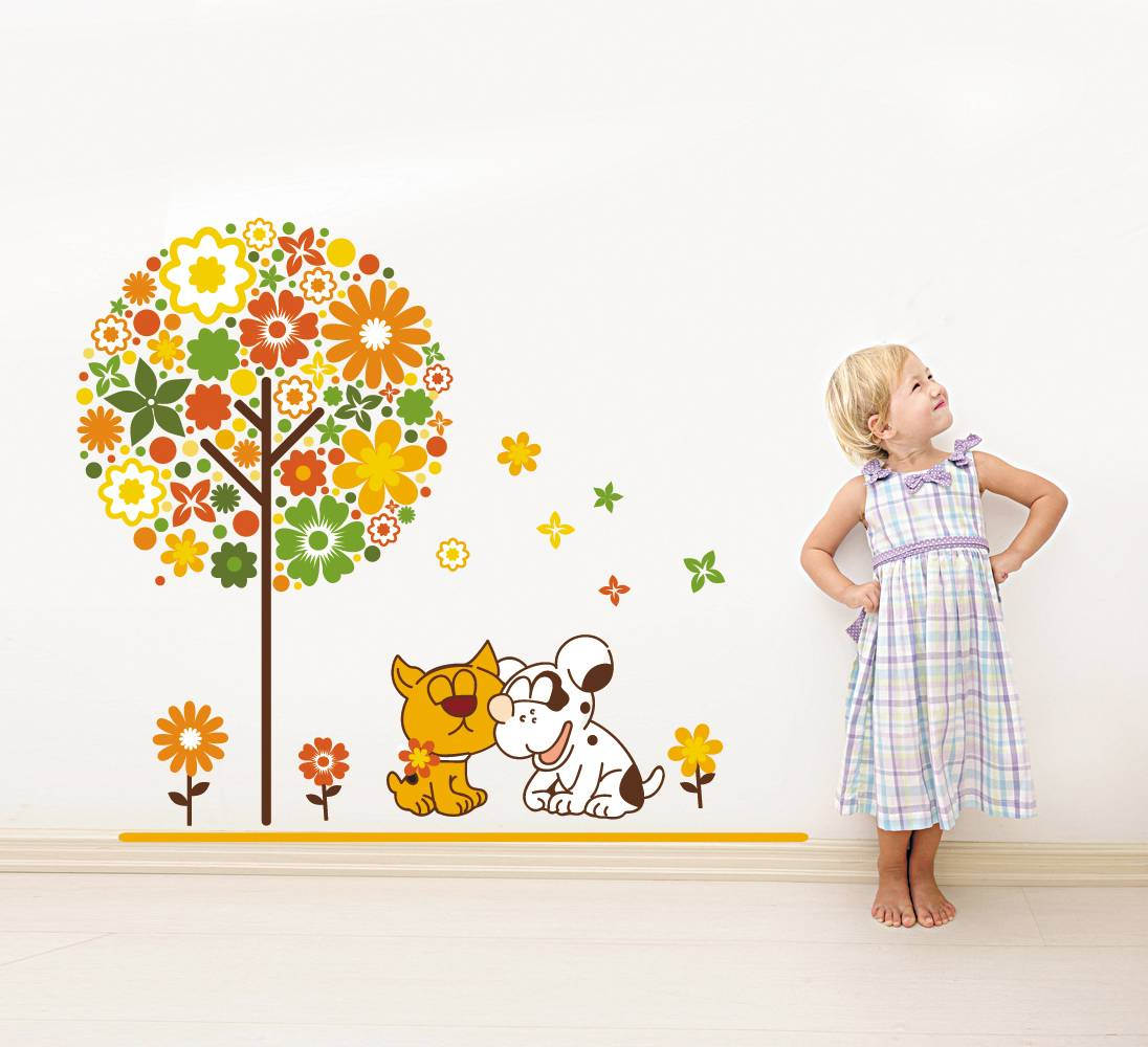 Samolepka na zeď Pejskové u stromu - nalepimeto