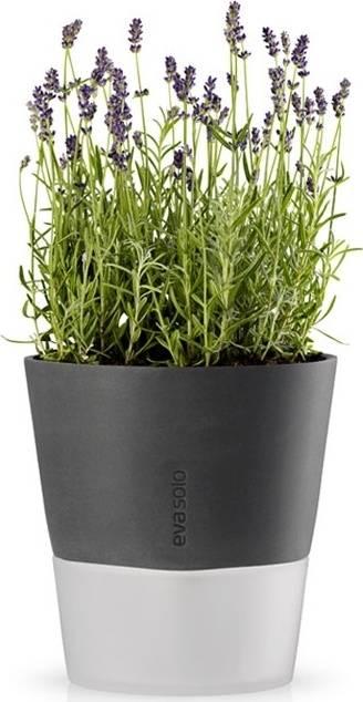Samozavlažovací květináč tmavě šedý 22cm, 568116 eva solo