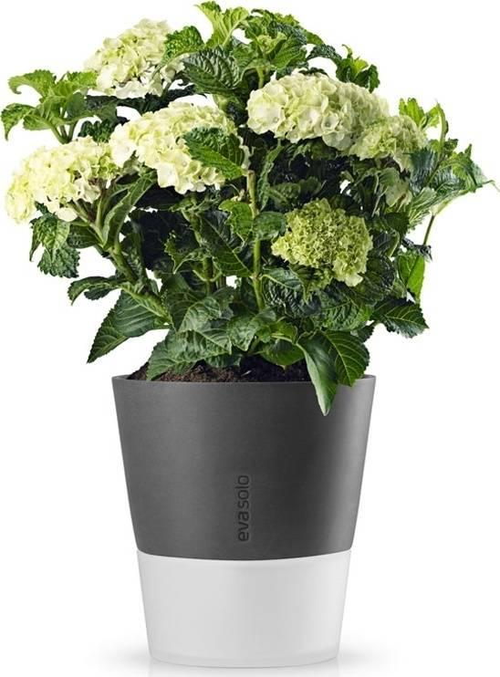 Samozavlažovací květináč tmavě šedý 27cm, 568117 eva solo