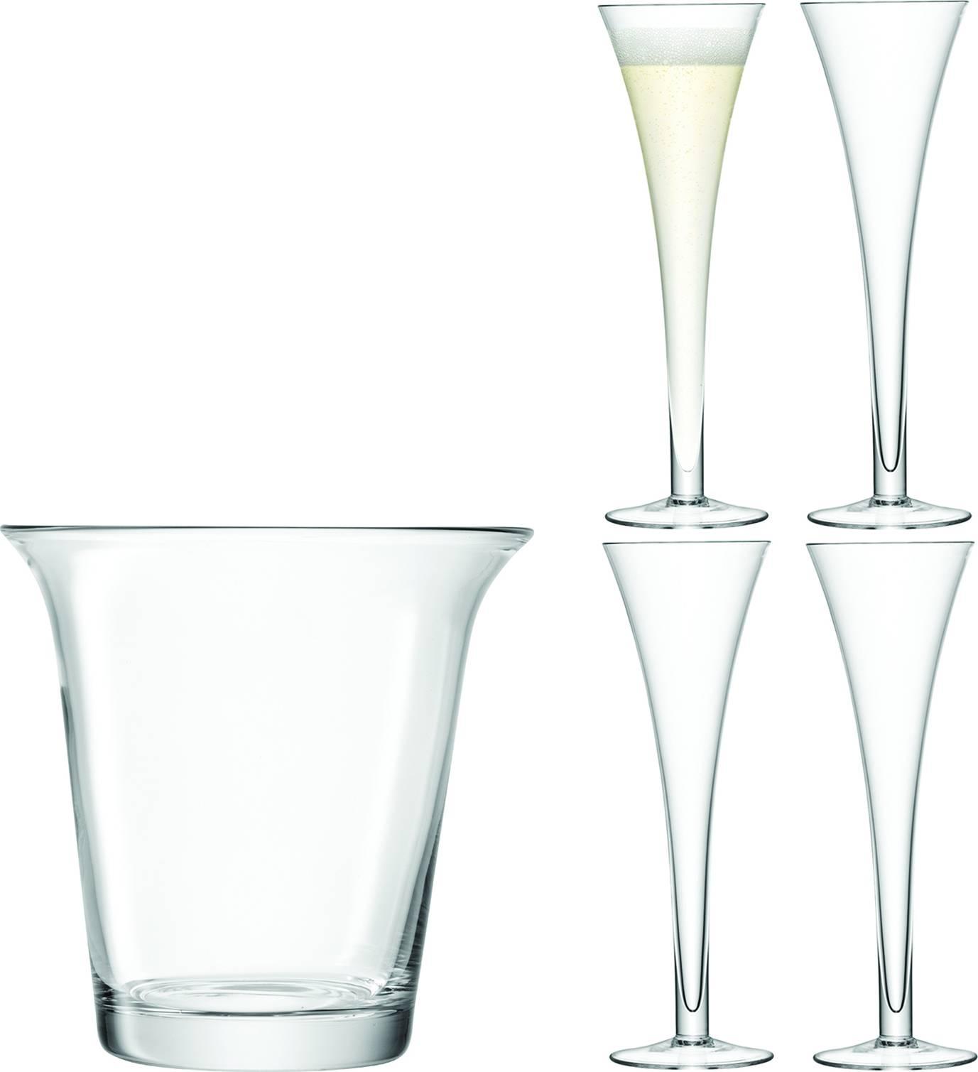 LSA dárkový set Champagne, 4ks sklenic +chladicí kbelík, čirý, Handmade G1033-00-301 LSA International