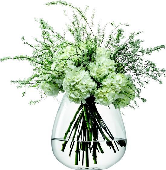 LSA Flower skleněná váza skleněná vypouklá, 38 cm, čirá, Handmade G1036-38-301 LSA International