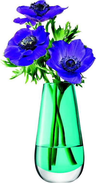 LSA Flower  skleněná váza malá, 14cm, tyrkys, Handmade G732-14-742 LSA International