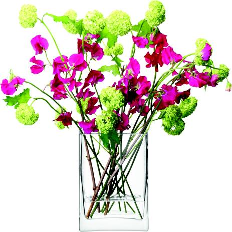 LSA Flower obdelníková skleněná váza 22cm čirá, Handmade G857-22-301 LSA International