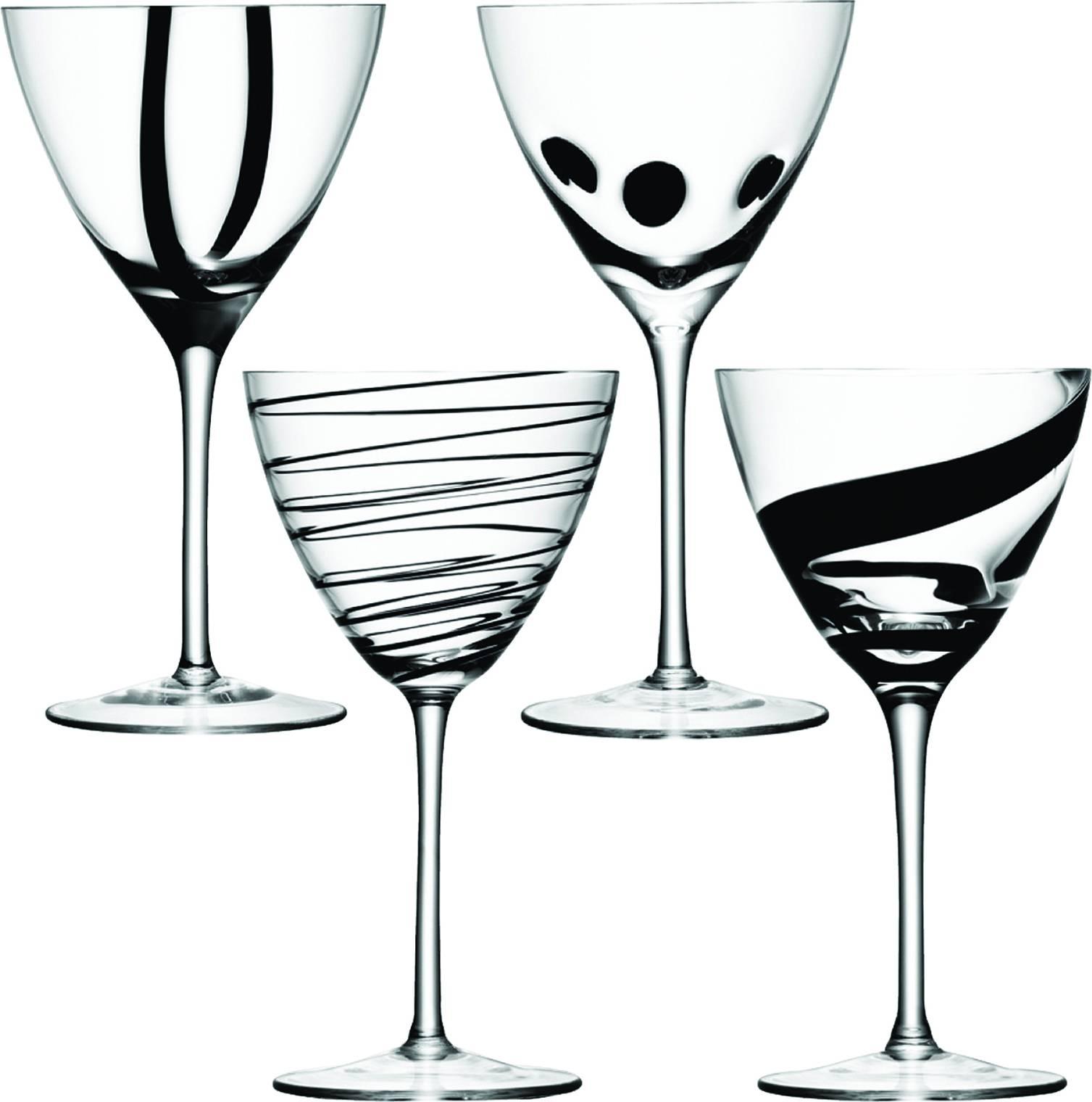 LSA JAZZ sklenice na víno, 400 ml, 4 ks, čirá/černá, Handmade G921-12-987 LSA International