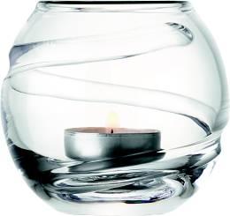 LSA Charleston svícen na čajovou svíčku zdobený páskem, 9 cm, čirý, Handmade G1044-09-276 LSA International