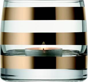 LSA Garbo svícen na čajovou svíčku, 8,5 cm, silné zlaté pásky, Handmade G368-08-336 LSA International