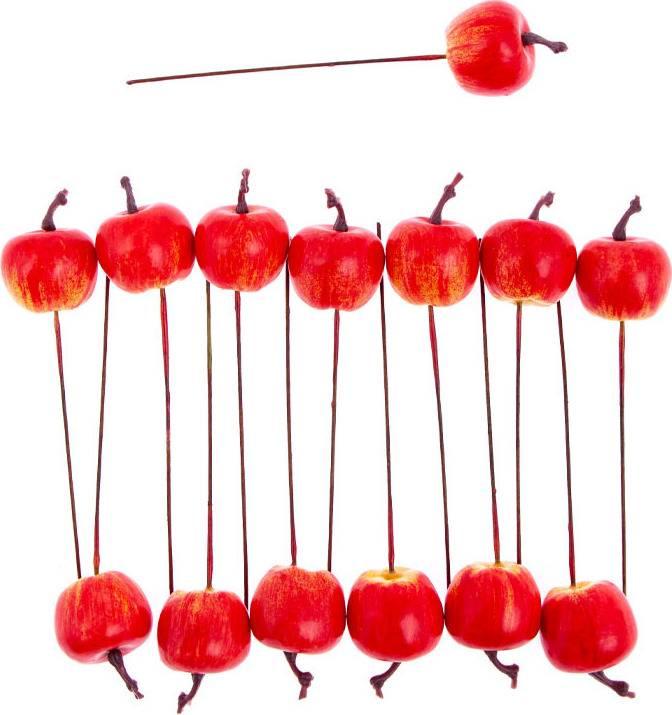Jablíčko plastové, červený melír. Cena za balení (16 ks v sáčku) A0302 Art
