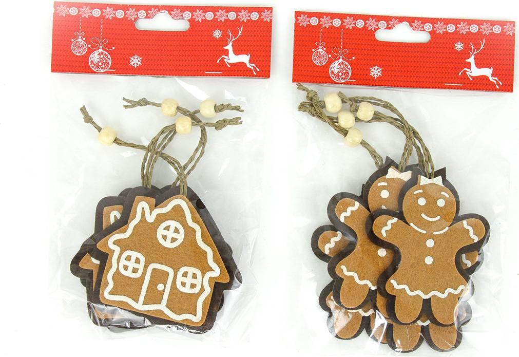 Sněhuláček nebo domeček, vánoční plstěná dekorace na pověšení, 4 kusy v sáčku, cena za 1 sáček AC7112 Art