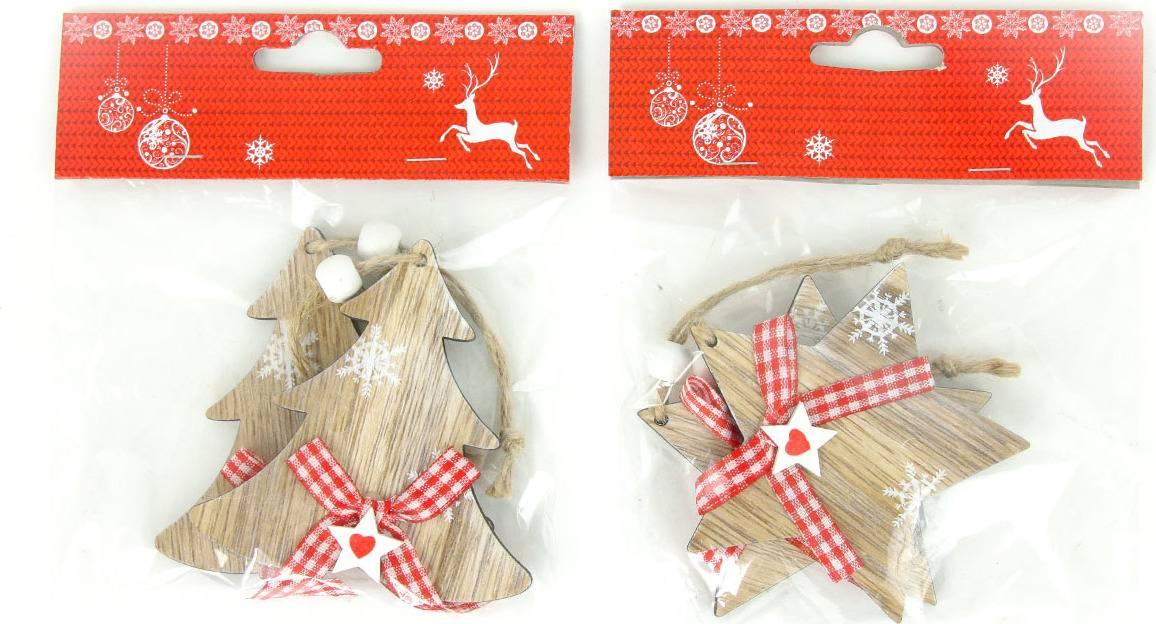 Hvězdička nebo stromeček, vánoční dřevěná dekorace na pověšení, 2 kusy v sáčku, cena za 1 sáček AC7114 Art