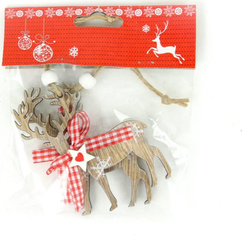 Sob, vánoční dřevěná dekorace na pověšení, 2 kusy v sáčku, cena za 1 sáček AC7115 Art