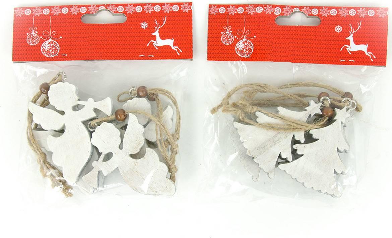 Andělíček nebo stromeček, vánoční dřevěná dekorace na pověšení, 6 kusů v sáčku, cena za 1 sáček AC7117 Art