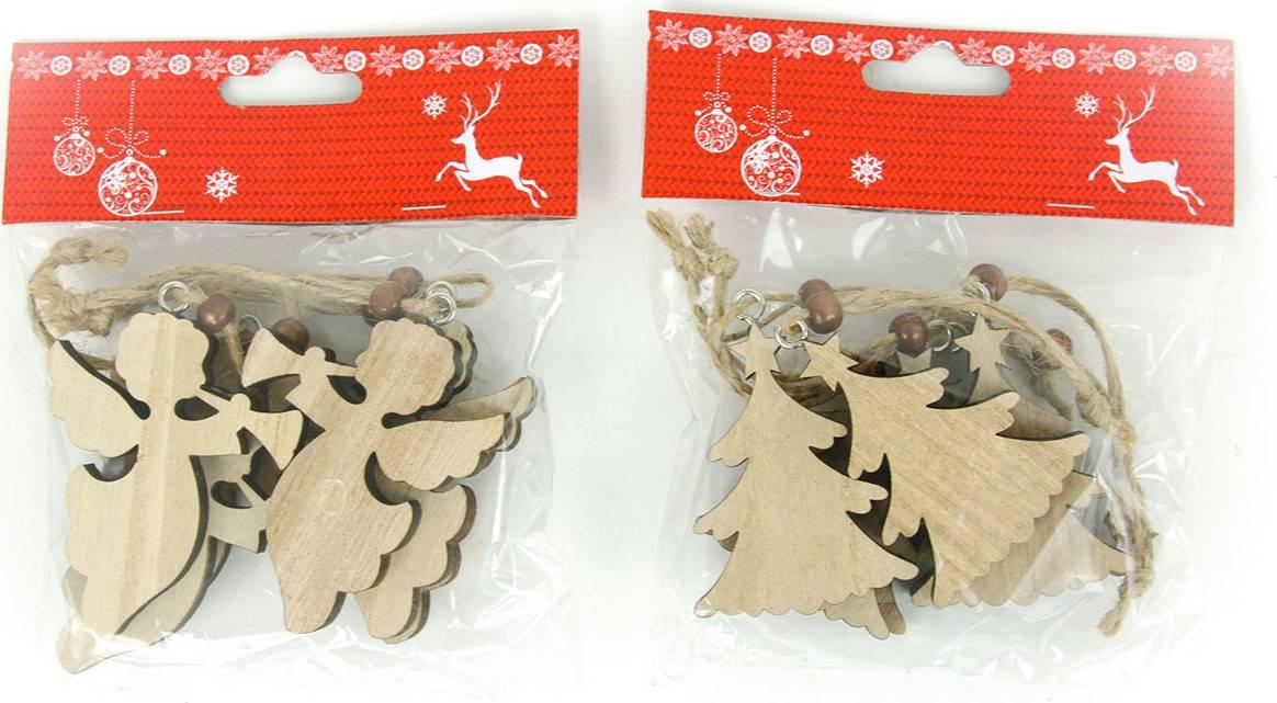 Andělíček nebo stromeček, vánoční dřevěná dekorace na pověšení, 6 kusů v sáčku, cena za 1 sáček AC7118 Art