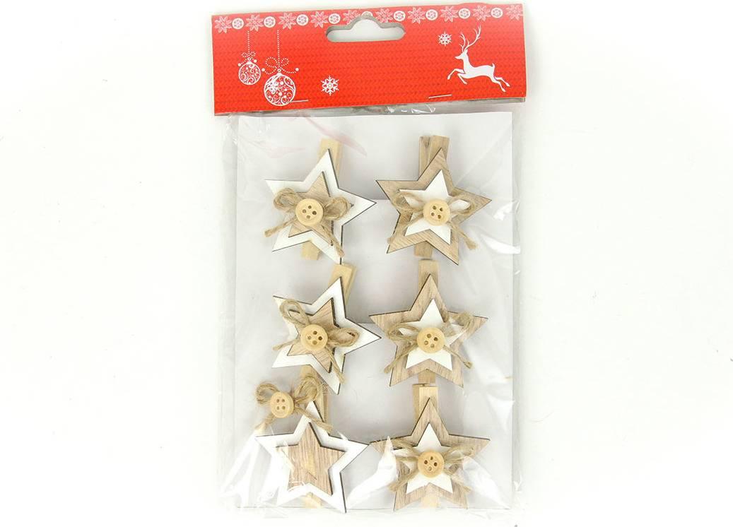 Hvězdička, vánoční dřevěná dekorace na kolíčku, 6 kusů v sáčku, cena za 1 sáček AC7120 Art