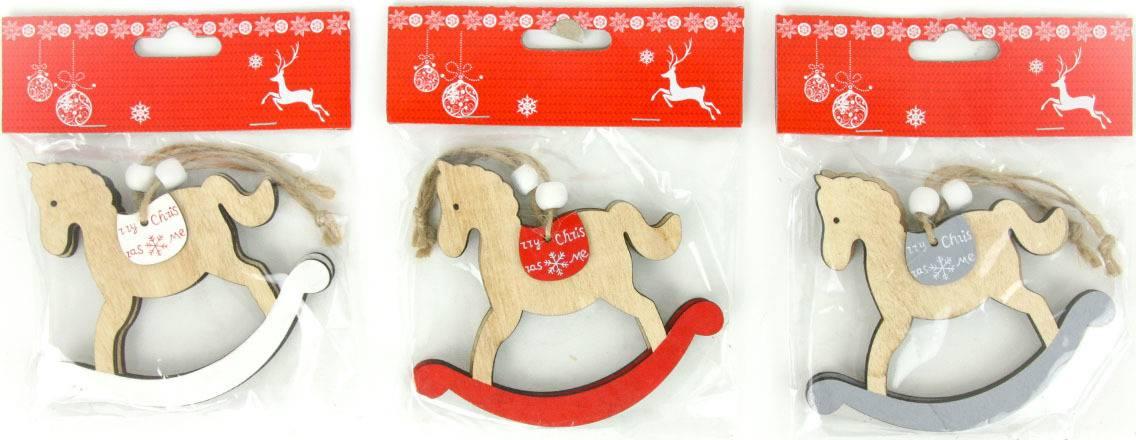 Koníček, vánoční dřevěná dekorace na pověšení, 2 kusy v sáčku, cena za 1 sáček AC7121 Art