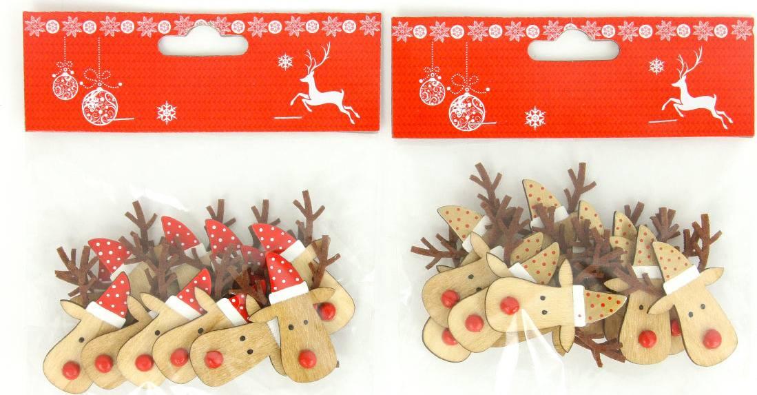 Sob, vánoční dřevěná dekorace na přilepení, 12 kusů v sáčku, cena za 1 sáček AC7128 Art