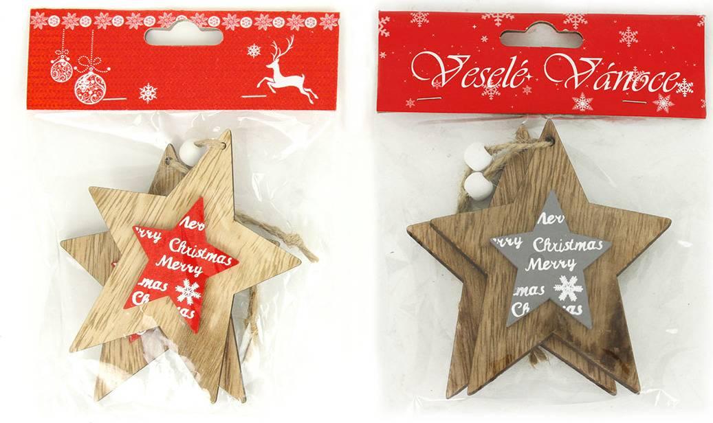 Hvězdička , vánoční dřevěná dekorace na pověšení, 2 kusy v sáčku, cena za 1 sáček AC7129 Art