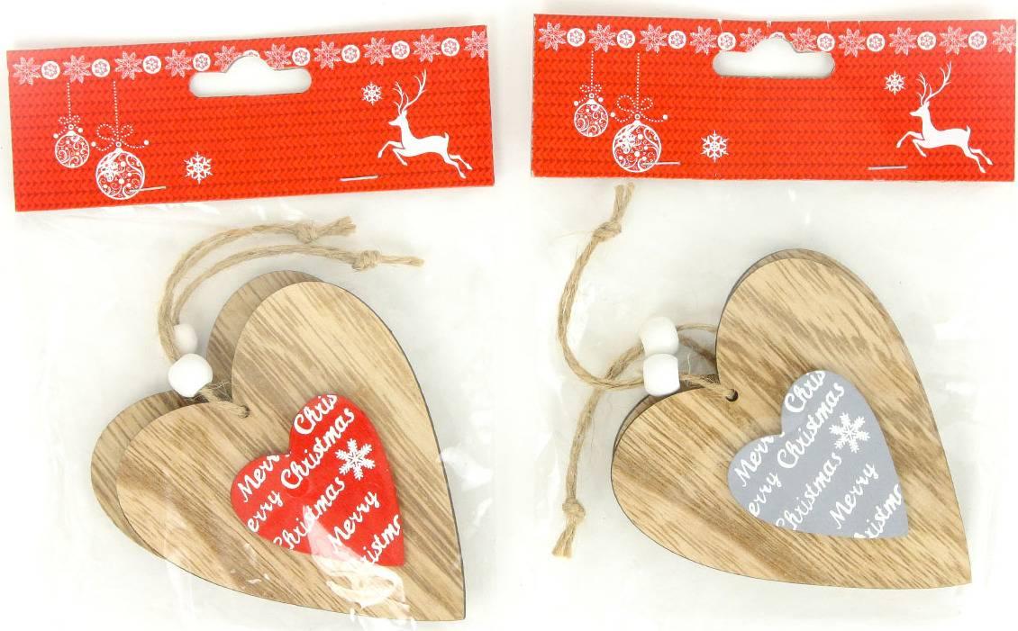 Srdíčko , vánoční dřevěná dekorace na pověšení, 2 kusy v sáčku, cena za 1 sáček AC7131 Art