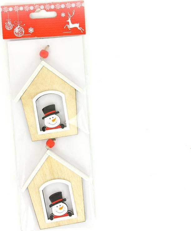 Domeček, vánoční dřevěná dekorace na pověšení, 2 kusy v sáčku, cena za 1 sáček AC7132 Art