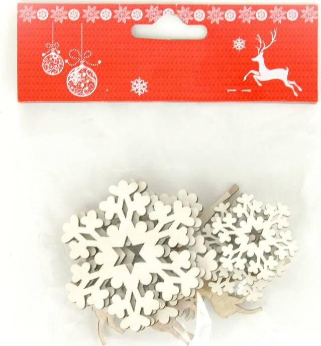 Sob a hvězdička, vánoční dřevěná dekorace, mix 12 kusů v sáčku, cena za 1 sáček AC7133 Art