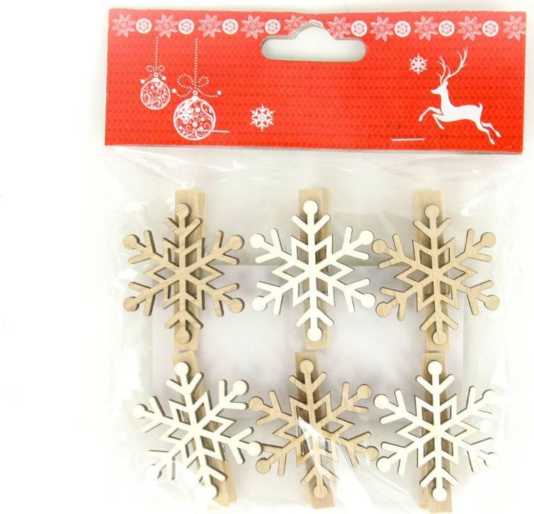 Vločka, vánoční dřevěná dekorace na kolíčku, 6 kusů v sáčku, cena za 1 sáček AC7134 Art
