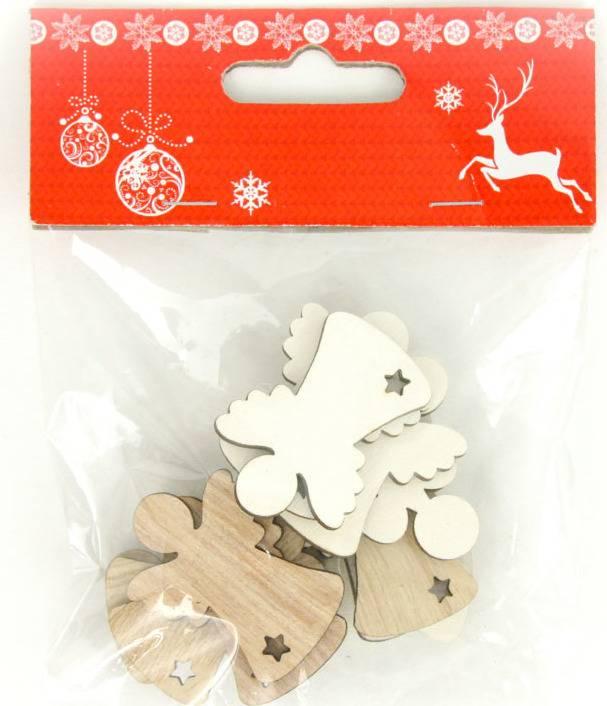 Andělíček, vánoční dřevěná dekorace, barva bílá a naturál 12 kusů v sáčku, cena za 1 sáček AC7138 Art