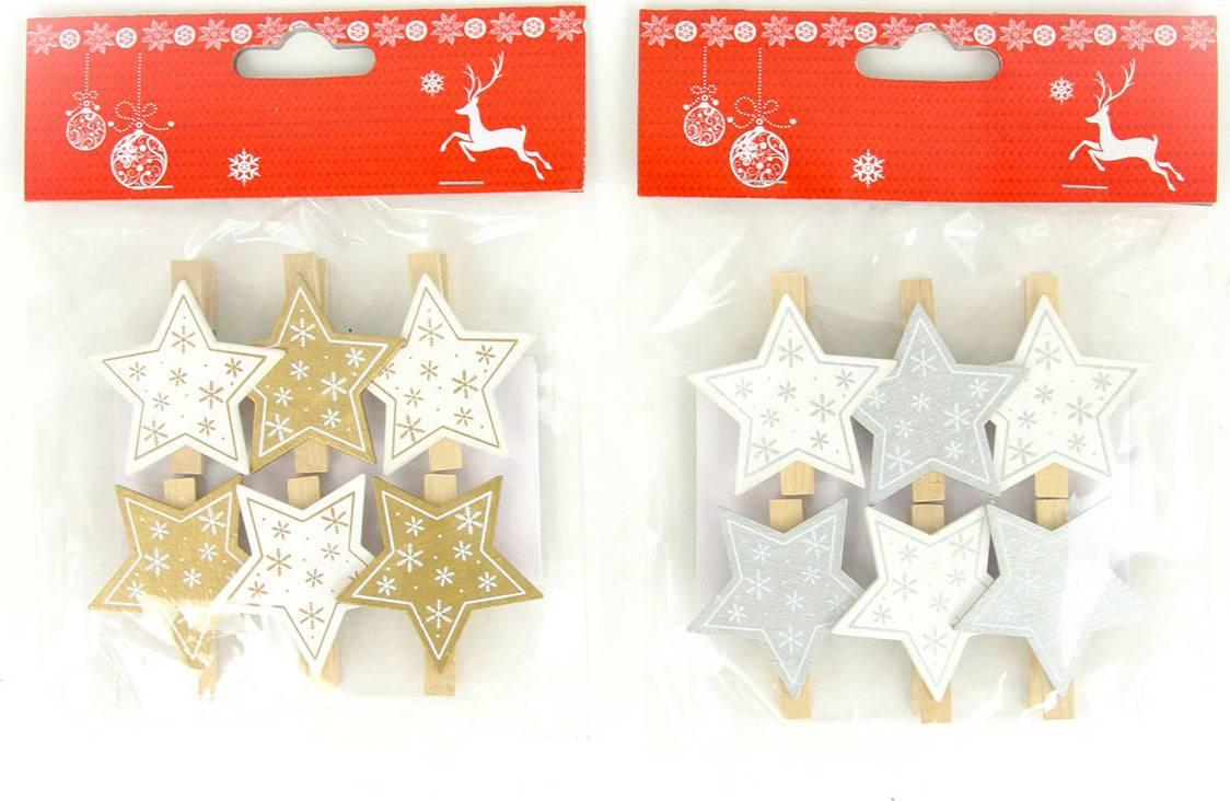 Hvězdička , vánoční dřevěná dekorace na kolíčku, 6 kusů v sáčku, cena za 1 sáček AC7144 Art