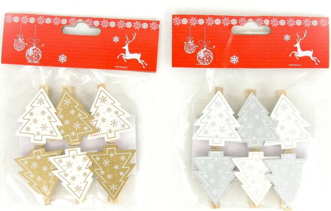 Stromeček , vánoční dřevěná dekorace na kolíčku, 6 kusů v sáčku, cena za 1 sáček AC7145 Art