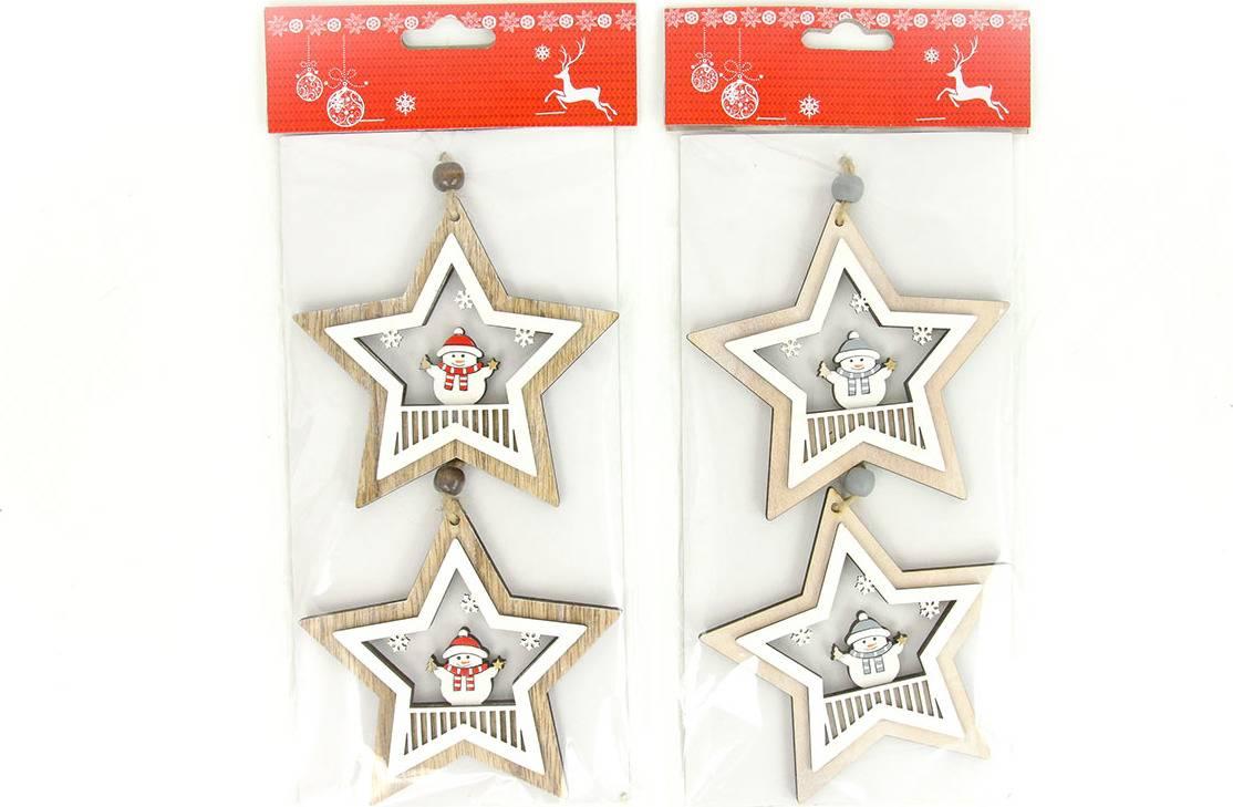 Hvězdička, vánoční dřevěná dekorace na pověšení, 2 kusy v sáčku, cena za 1 sáček AC7147 Art