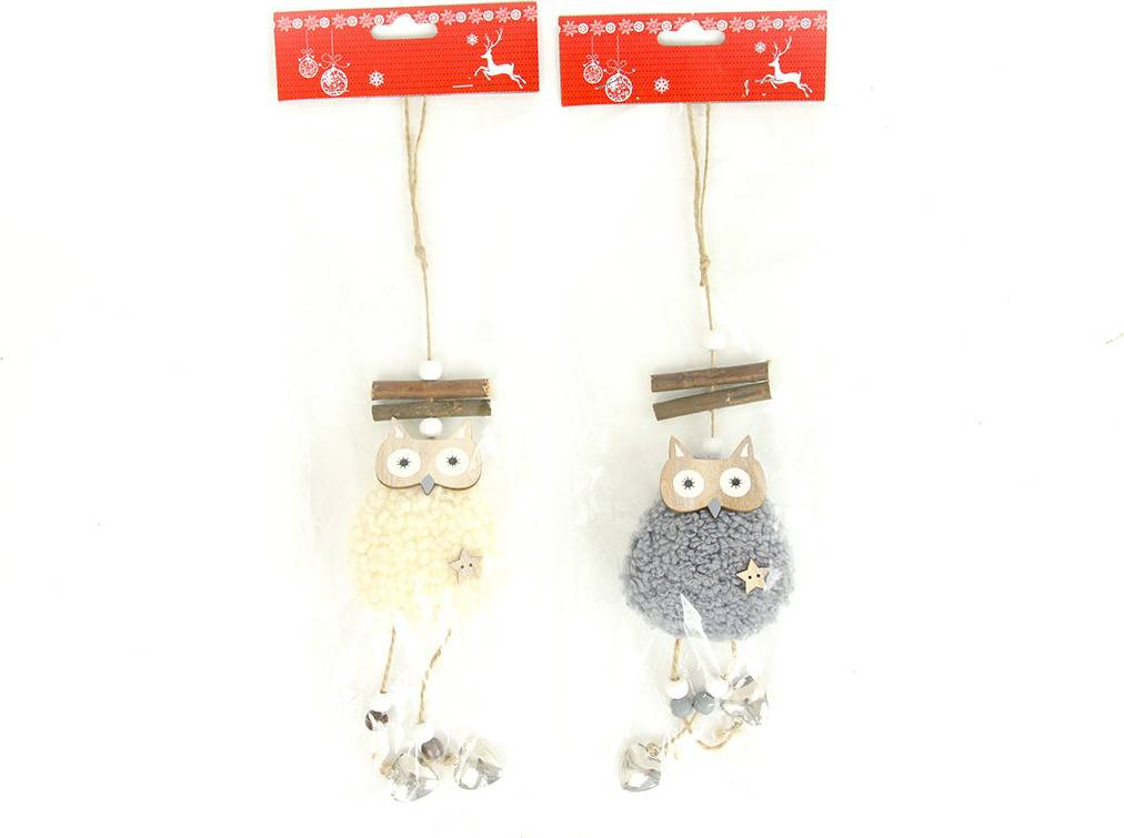 Sovička, vánoční dekorace dřevěná s plyšem na zavěšení, barva šedá nebo bílá AC7148 Art