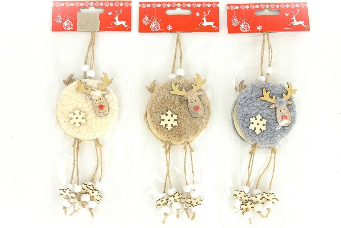 Sob, vánoční dekorace dřevěná s plyšem na zavěšení,2 kusy v sáčku, cena za 1 sáček AC7149 Art