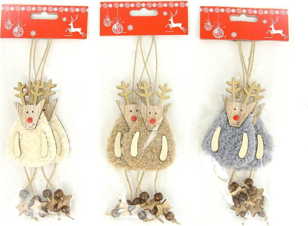 Sob, vánoční dekorace dřevěná s plyšem na zavěšení,2 kusy v sáčku, cena za 1 sáček AC7150 Art
