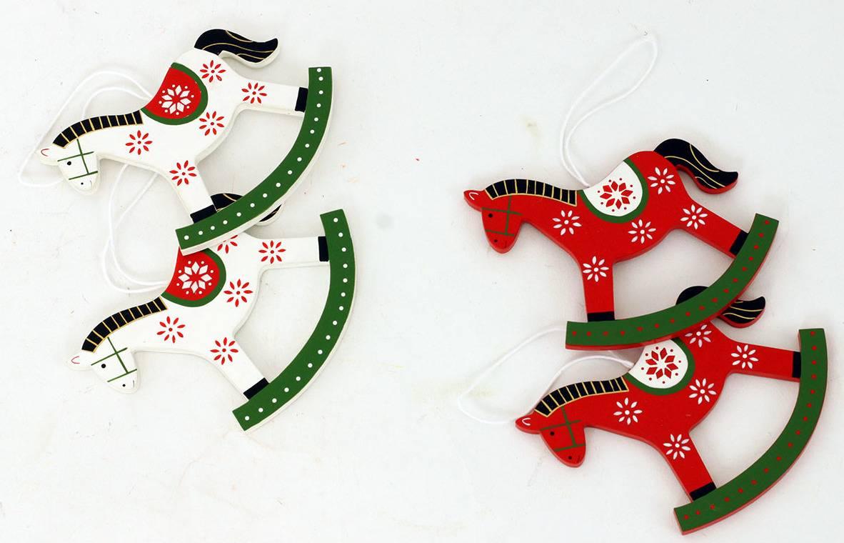 Dřevěný kůň , vánoční dřevěná dekorace na  zavěšení, cena za 1 polybag AC752453 Art