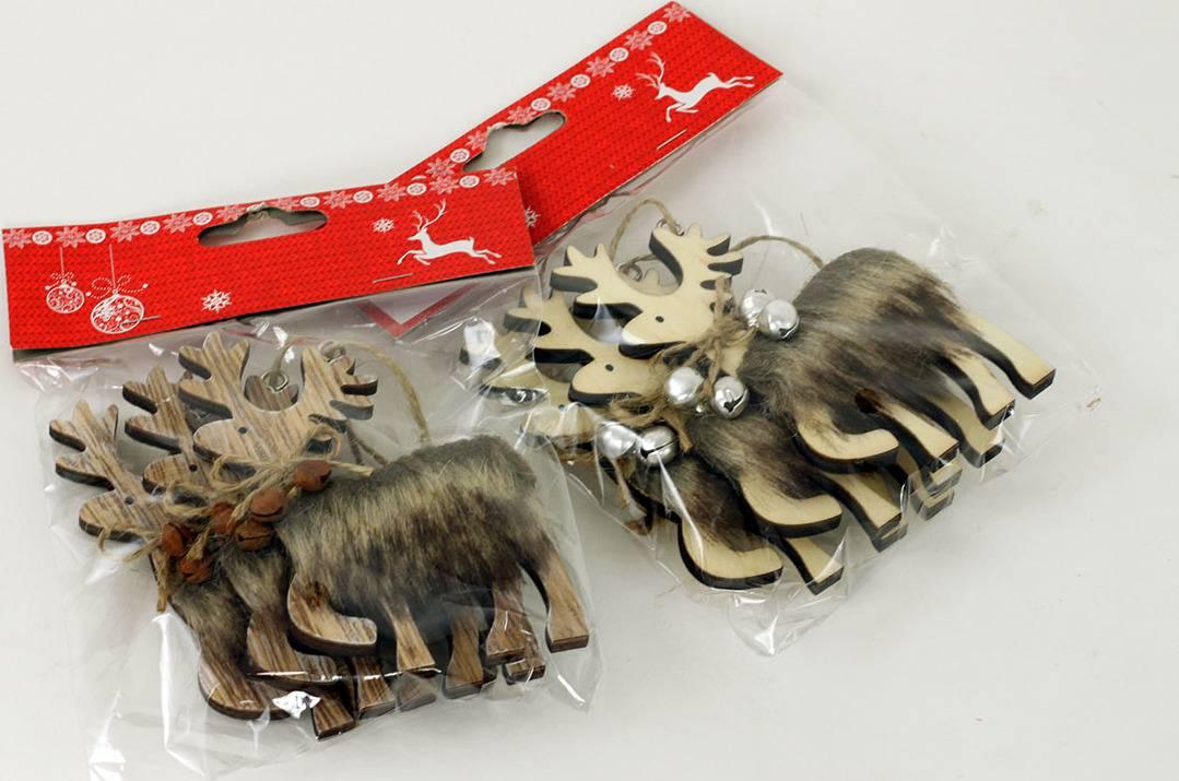 Sob s umělým plyšem, vánoční dřevěná dekorace na zavěšení, cena za jedno balení AC797157 Art