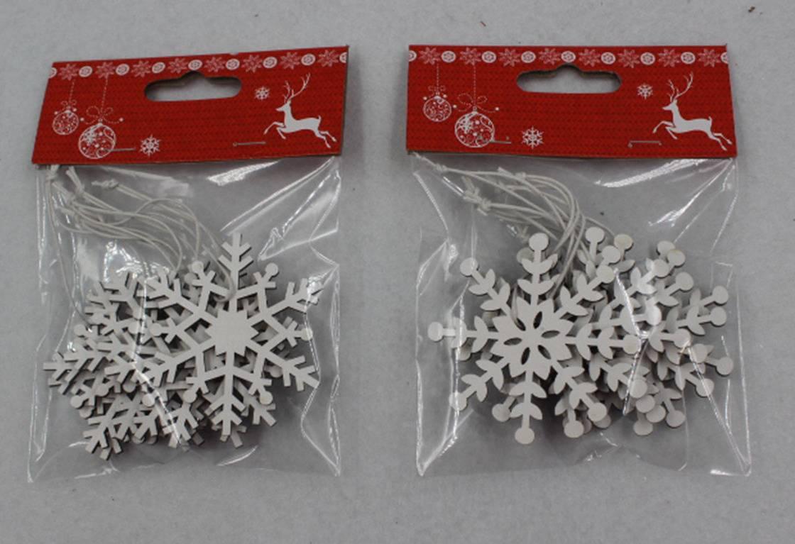 Vánoční dřevěná dekorace na zavěšení, sněhová vločka, barva bílá, cena ze jedno balení AC797386 Art