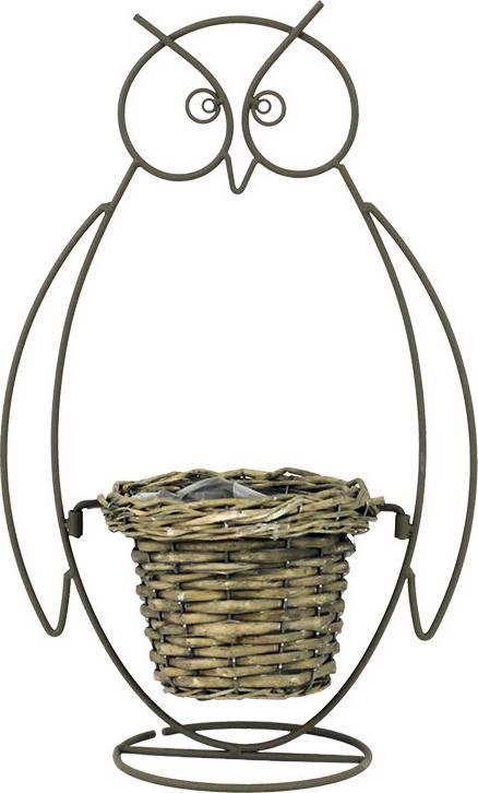 Proutěný košík v kovovém stojanu - tvar sova. AN742188 Art