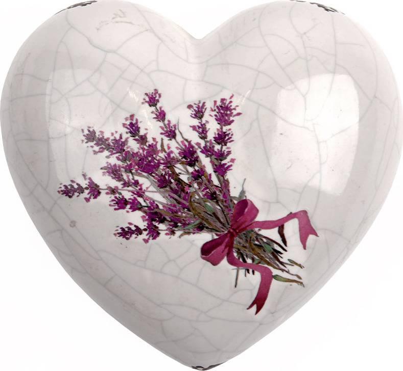 Srdce keramické s motivem levandule. ARL006 Art