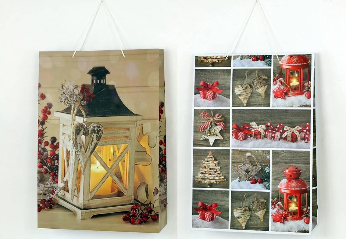Taška dárková papírová, velká, mix vánočních motivů AUT050-LL Art