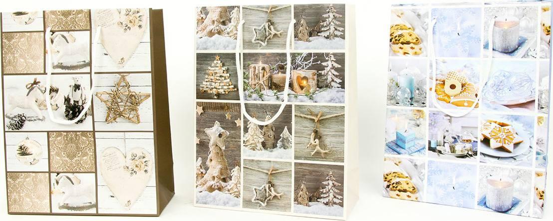 Taška dárková papírová střední, vánoční motiv, mix tří dekorů AUT131-ST Art