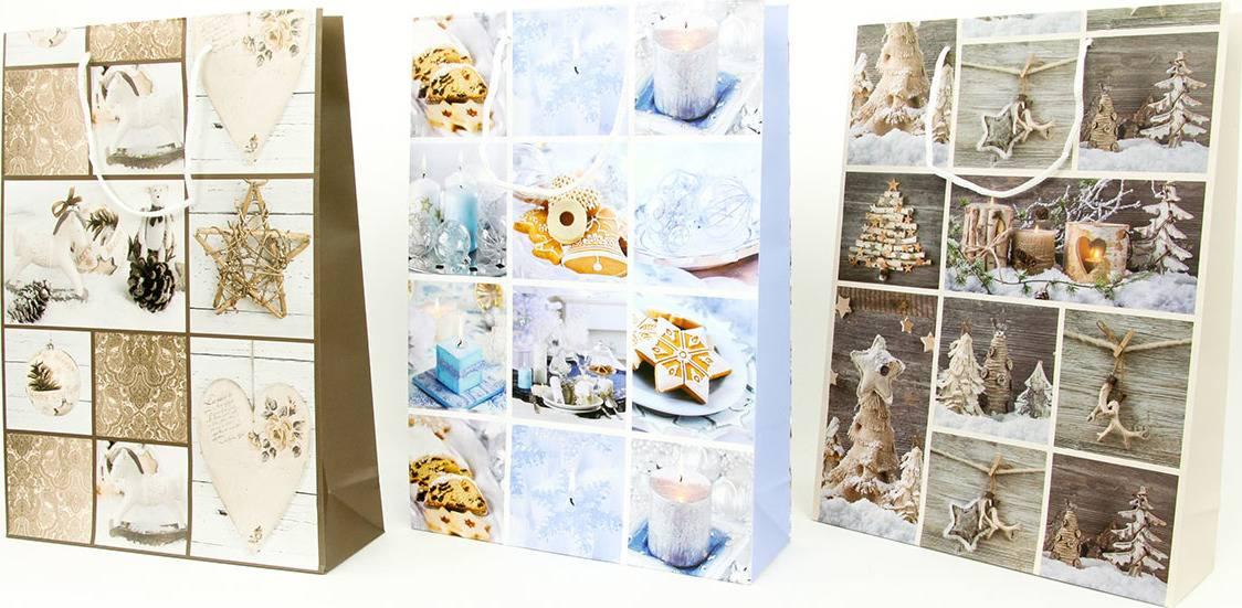Taška dárková papírová velká, vánoční motiv, mix tří dekorů AUT131-V Art