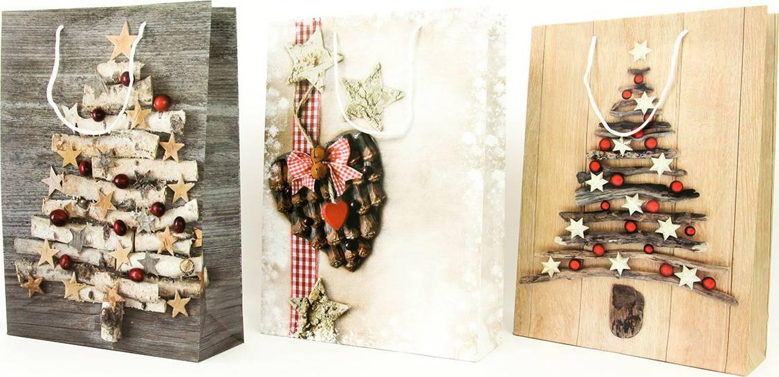Taška dárková papírová velká, vánoční motivy, mix tří dekorů AUT134-V Art