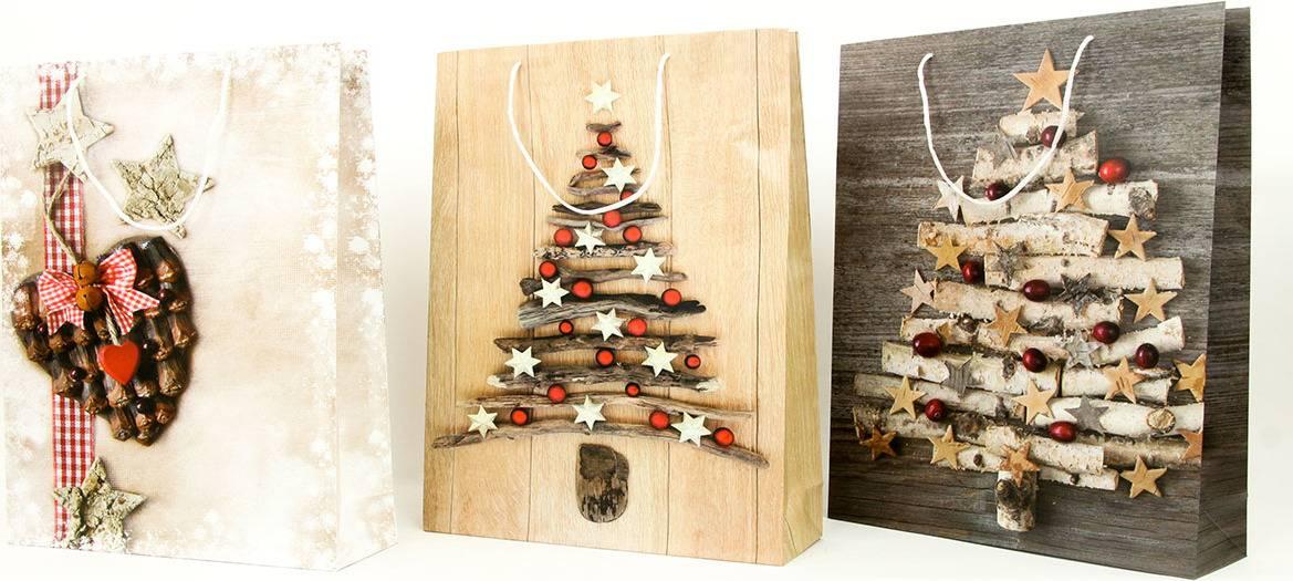 Taška dárková papírová XL, vánoční motivy, mix tří dekorů AUT134-XL Art