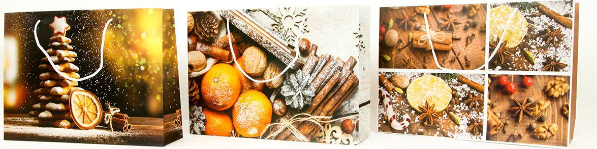 Taška dárková papírová velká ležatá, vánoční motivy, mix tří dekorů AUT135-VL Art