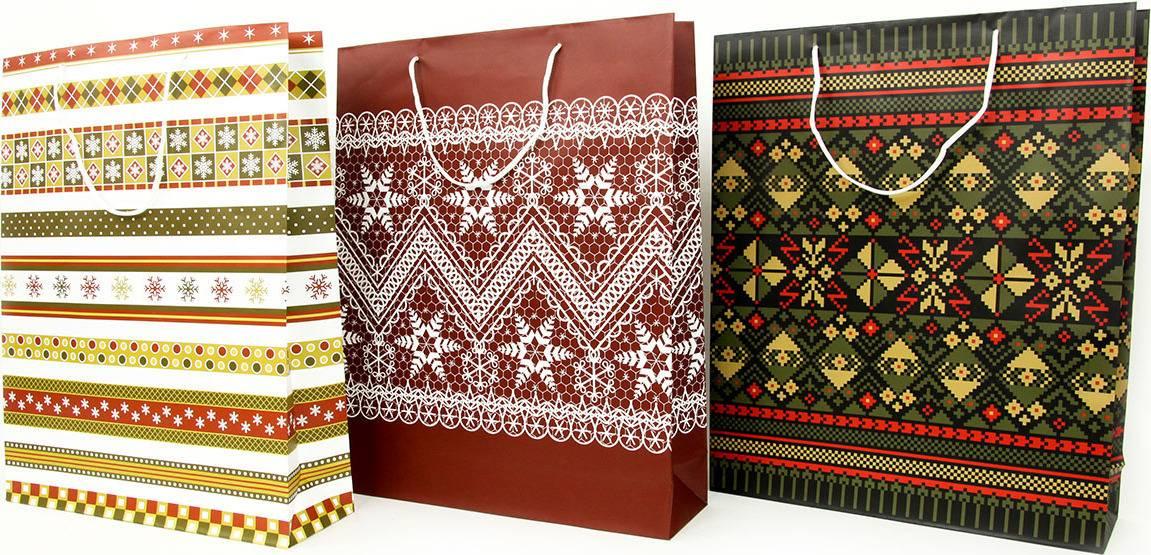 Taška dárková papírová XL, vánoční motivy, mix tří dekorů AUT137-XL Art