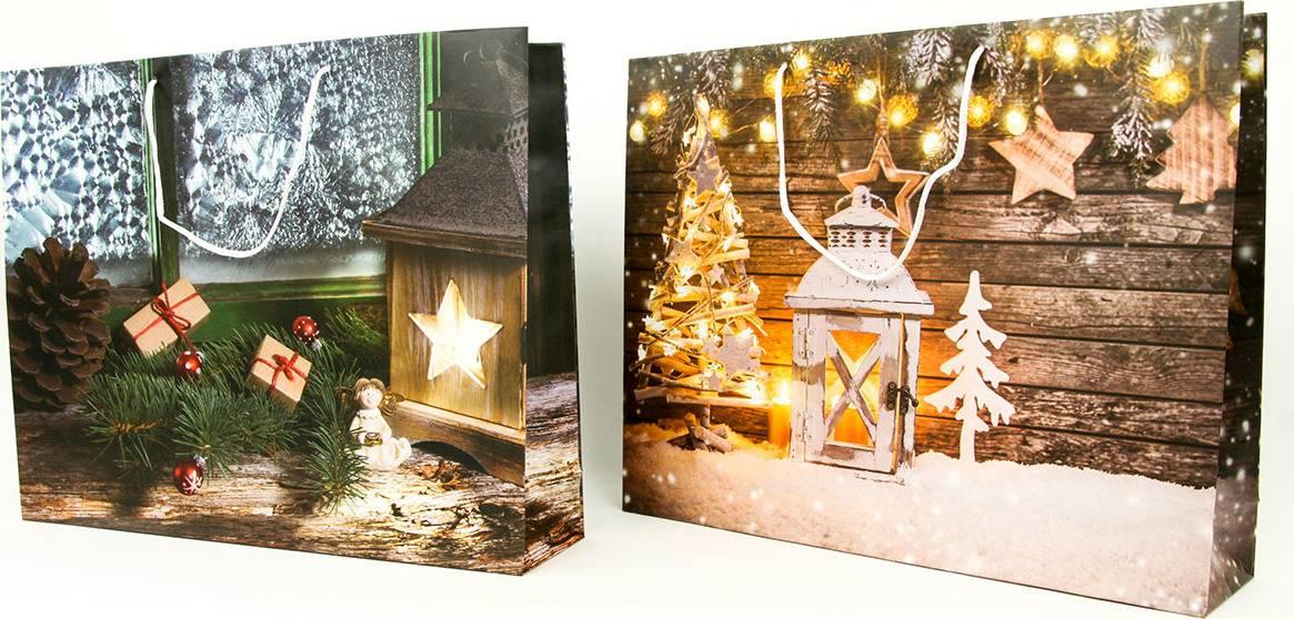 Taška dárková papírová XLL ležatá, vánoční motivy, mix dvou dekorů AUT138-XLL Art