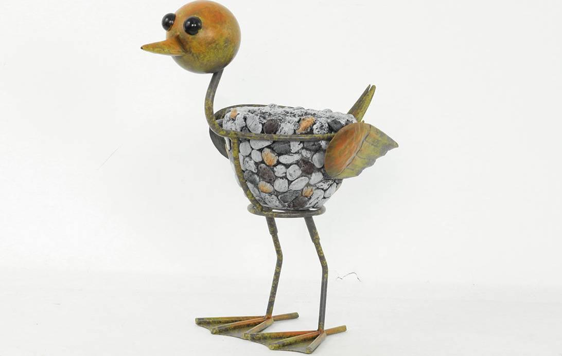 Kachna MgO keramika s kamínky na kovových nohách a s otvorem pro květináč KEM1670 Art