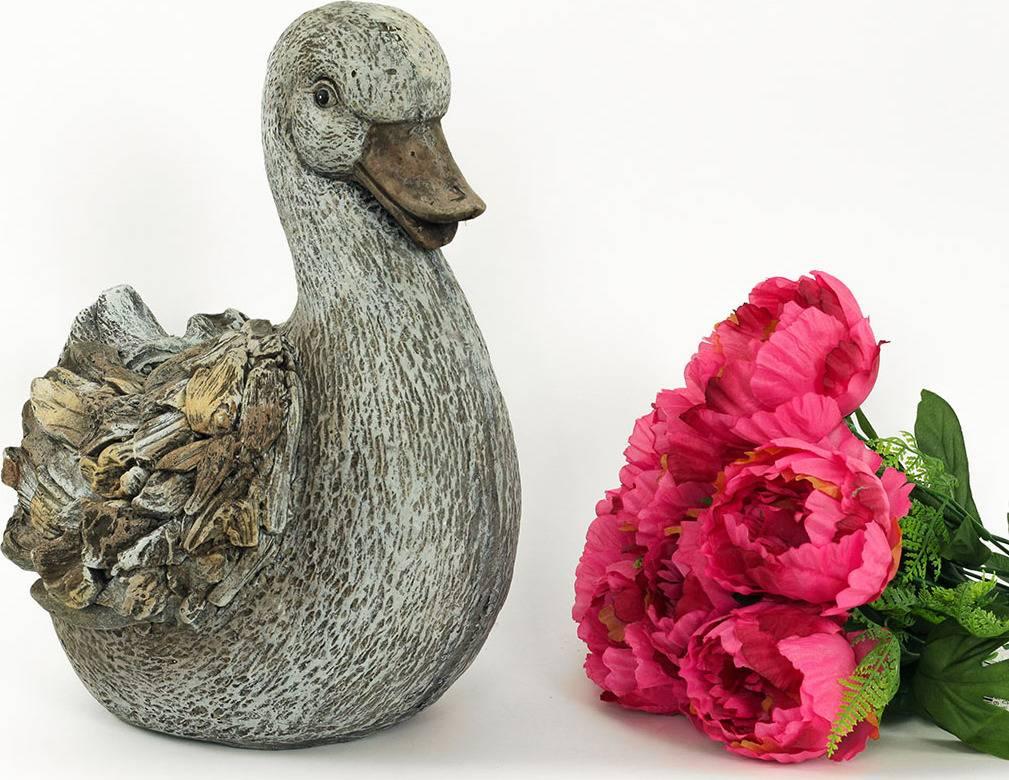 Kachna, MgO keramika s otvorem na květinu, design dřeva, zahradní dekorace KEM7363 Art